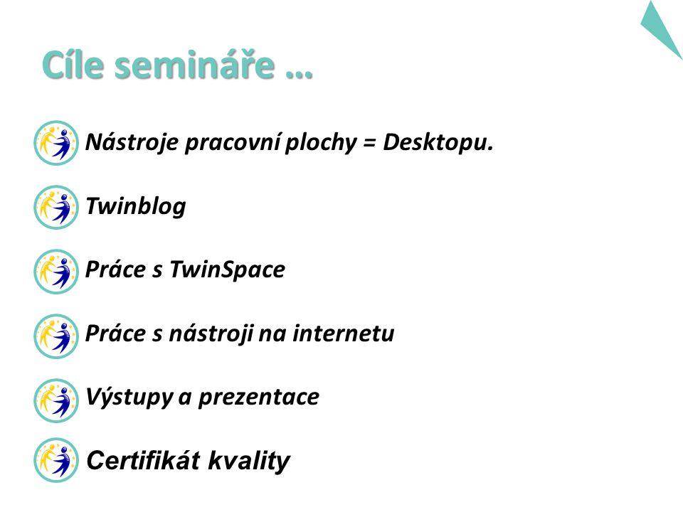 Cíle semináře … Nástroje pracovní plochy = Desktopu. Twinblog Práce s TwinSpace Práce s nástroji na internetu Výstupy a prezentace Certifikát kvality
