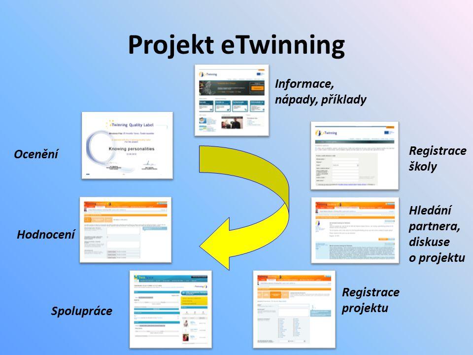 Projekt eTwinning Ocenění Informace, nápady, příklady Hledání partnera, diskuse o projektu Registrace školy Registrace projektu Spolupráce Hodnocení