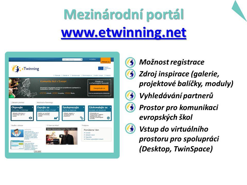 Mezinárodní portál www.etwinning.net www.etwinning.net Možnost registrace Zdroj inspirace (galerie, projektové balíčky, moduly) Vyhledávání partnerů P