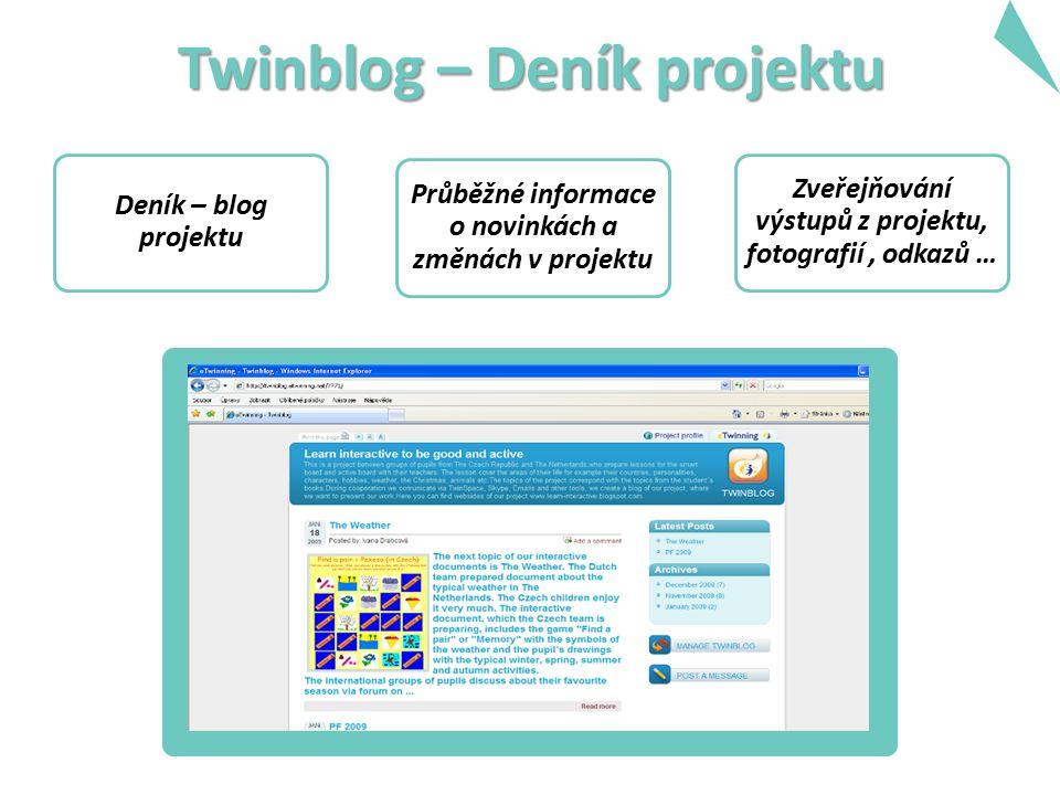 Twinblog – Deník projektu Deník – blog projektu Průběžné informace o novinkách a změnách v projektu Zveřejňování výstupů z projektu, fotografií, odkaz