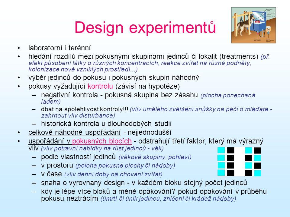 Design experimentů laboratorní i terénní hledání rozdílů mezi pokusnými skupinami jedinců či lokalit (treatments) (př. efekt působení látky o různých