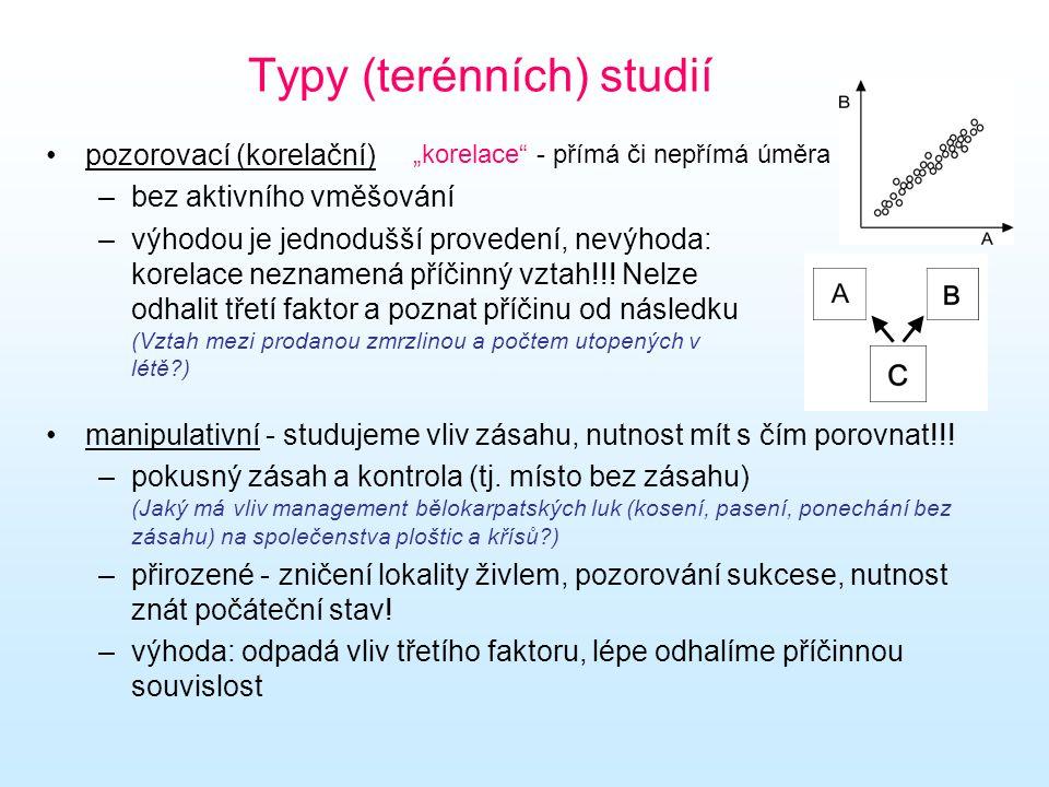 Typy (terénních) studií pozorovací (korelační) –bez aktivního vměšování –výhodou je jednodušší provedení, nevýhoda: korelace neznamená příčinný vztah!