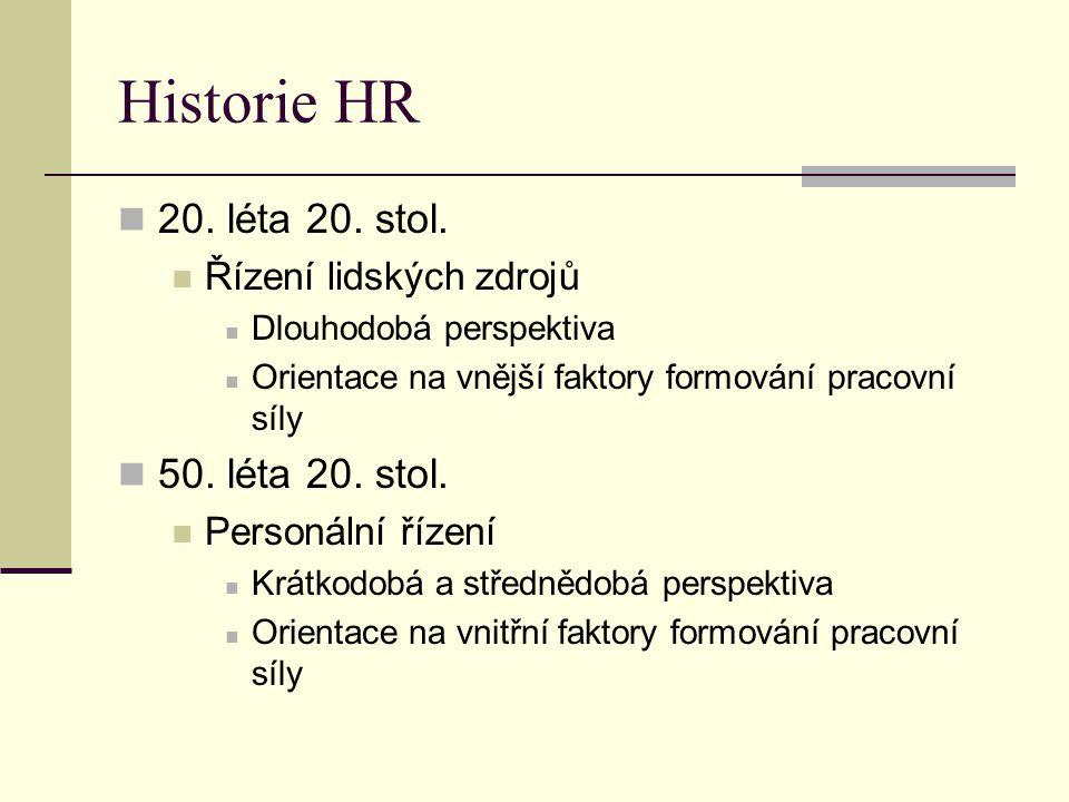 Historie HR 20. léta 20. stol. Řízení lidských zdrojů Dlouhodobá perspektiva Orientace na vnější faktory formování pracovní síly 50. léta 20. stol. Pe