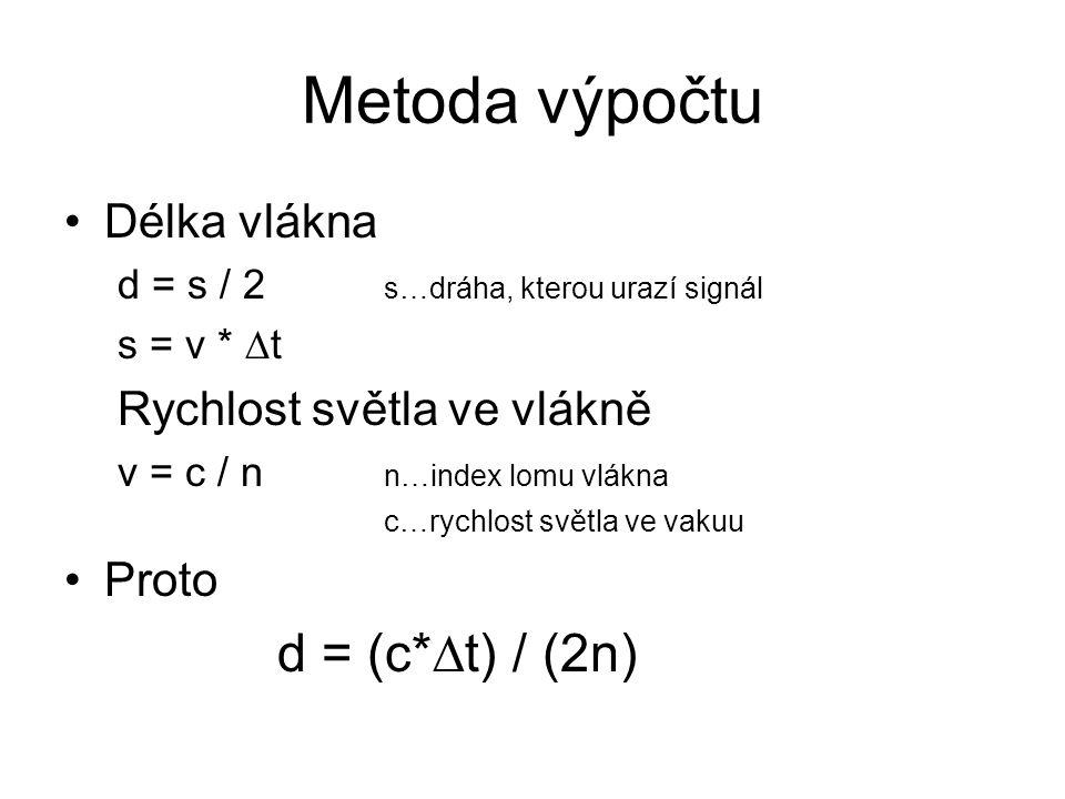 Metoda výpočtu Délka vlákna d = s / 2 s…dráha, kterou urazí signál s = v *  t Rychlost světla ve vlákně v = c / n n…index lomu vlákna c…rychlost svět