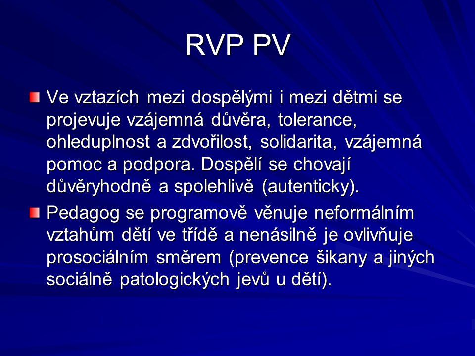 RVP PV Ve vztazích mezi dospělými i mezi dětmi se projevuje vzájemná důvěra, tolerance, ohleduplnost a zdvořilost, solidarita, vzájemná pomoc a podpora.