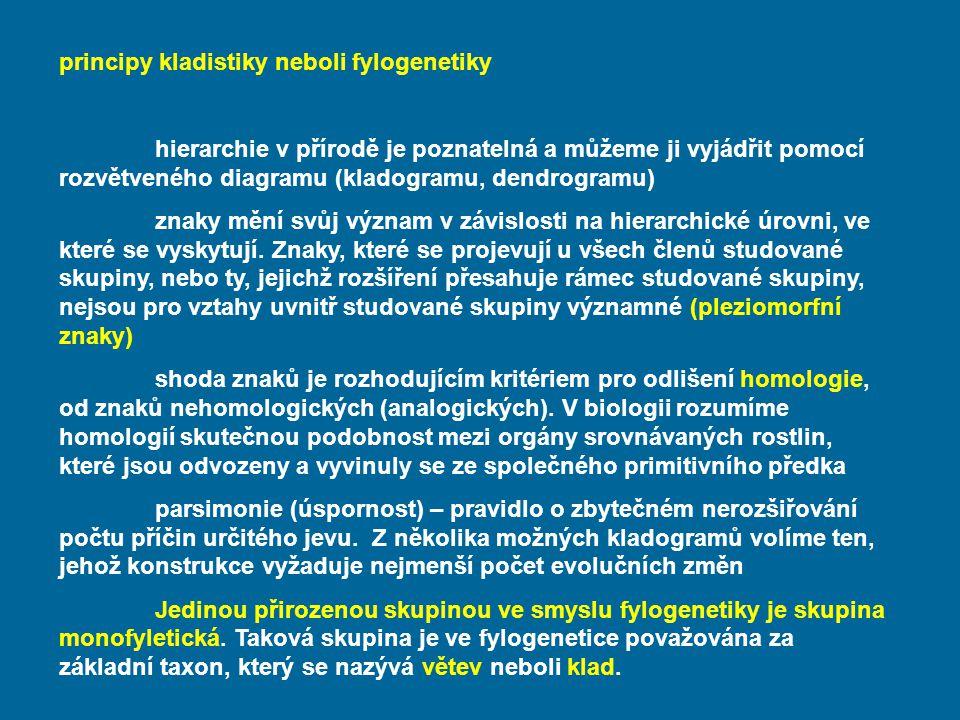 principy kladistiky neboli fylogenetiky hierarchie v přírodě je poznatelná a můžeme ji vyjádřit pomocí rozvětveného diagramu (kladogramu, dendrogramu)