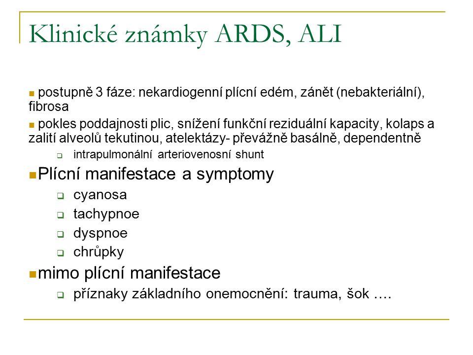 Klinické známky ARDS, ALI postupně 3 fáze: nekardiogenní plícní edém, zánět (nebakteriální), fibrosa pokles poddajnosti plic, snížení funkční reziduální kapacity, kolaps a zalití alveolů tekutinou, atelektázy- převážně basálně, dependentně  intrapulmonální arteriovenosní shunt Plícní manifestace a symptomy  cyanosa  tachypnoe  dyspnoe  chrůpky mimo plícní manifestace  příznaky základního onemocnění: trauma, šok ….