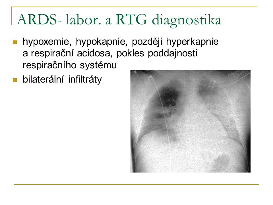 ARDS- labor. a RTG diagnostika hypoxemie, hypokapnie, později hyperkapnie a respirační acidosa, pokles poddajnosti respiračního systému bilaterální in