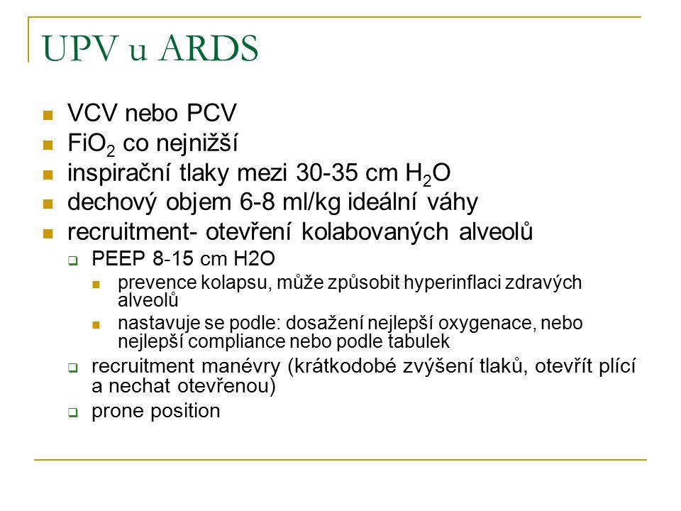 UPV u ARDS VCV nebo PCV FiO 2 co nejnižší inspirační tlaky mezi 30-35 cm H 2 O dechový objem 6-8 ml/kg ideální váhy recruitment- otevření kolabovaných alveolů  PEEP 8-15 cm H2O prevence kolapsu, může způsobit hyperinflaci zdravých alveolů nastavuje se podle: dosažení nejlepší oxygenace, nebo nejlepší compliance nebo podle tabulek  recruitment manévry (krátkodobé zvýšení tlaků, otevřít plící a nechat otevřenou)  prone position