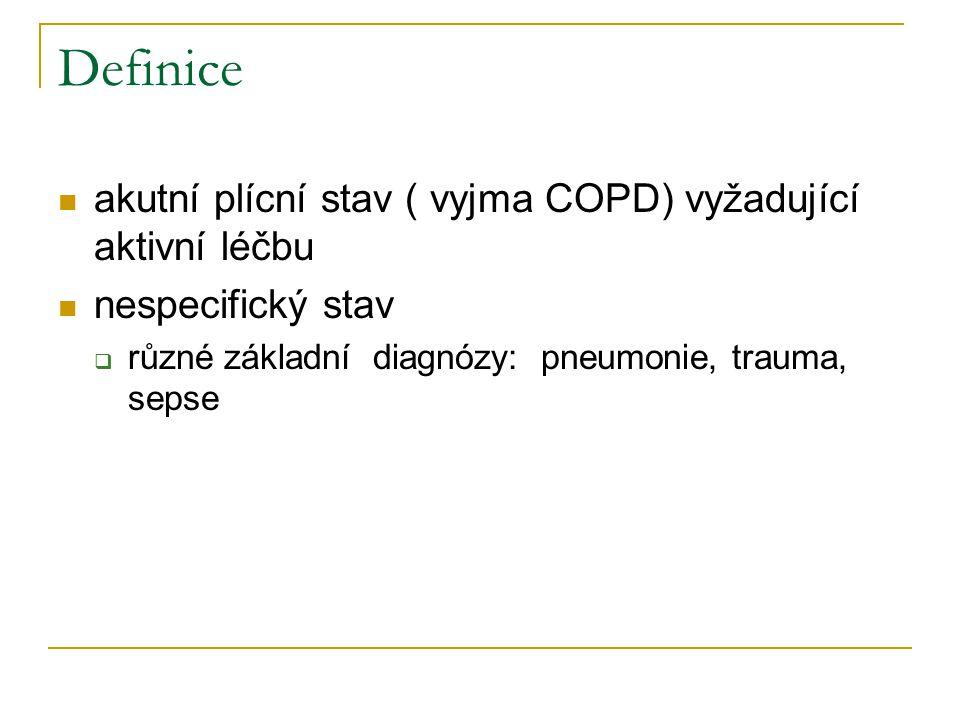 Definice akutní plícní stav ( vyjma COPD) vyžadující aktivní léčbu nespecifický stav  různé základní diagnózy: pneumonie, trauma, sepse