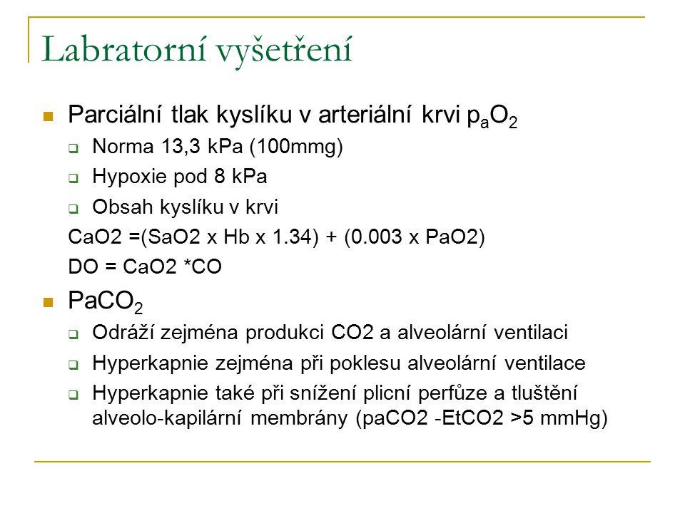 Labratorní vyšetření Parciální tlak kyslíku v arteriální krvi p a O 2  Norma 13,3 kPa (100mmg)  Hypoxie pod 8 kPa  Obsah kyslíku v krvi CaO2 =(SaO2 x Hb x 1.34) + (0.003 x PaO2) DO = CaO2 *CO PaCO 2  Odráží zejména produkci CO2 a alveolární ventilaci  Hyperkapnie zejména při poklesu alveolární ventilace  Hyperkapnie také při snížení plicní perfůze a tluštění alveolo-kapilární membrány (paCO2 -EtCO2 >5 mmHg)