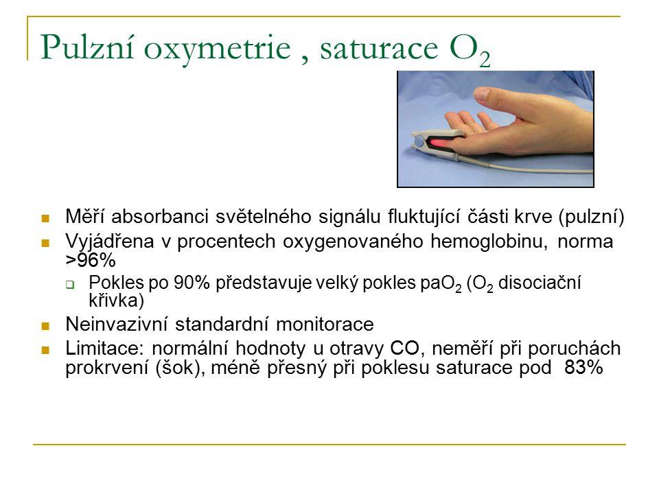 Pulzní oxymetrie, saturace O 2 Měří absorbanci světelného signálu fluktující části krve (pulzní) Vyjádřena v procentech oxygenovaného hemoglobinu, norma >96%  Pokles po 90% představuje velký pokles paO 2 (O 2 disociační křivka) Neinvazivní standardní monitorace Limitace: normální hodnoty u otravy CO, neměří při poruchách prokrvení (šok), méně přesný při poklesu saturace pod 83%