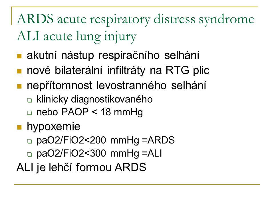 ARDS acute respiratory distress syndrome ALI acute lung injury akutní nástup respiračního selhání nové bilaterální infiltráty na RTG plic nepřítomnost levostranného selhání  klinicky diagnostikovaného  nebo PAOP < 18 mmHg hypoxemie  paO2/FiO2<200 mmHg =ARDS  paO2/FiO2<300 mmHg =ALI ALI je lehčí formou ARDS