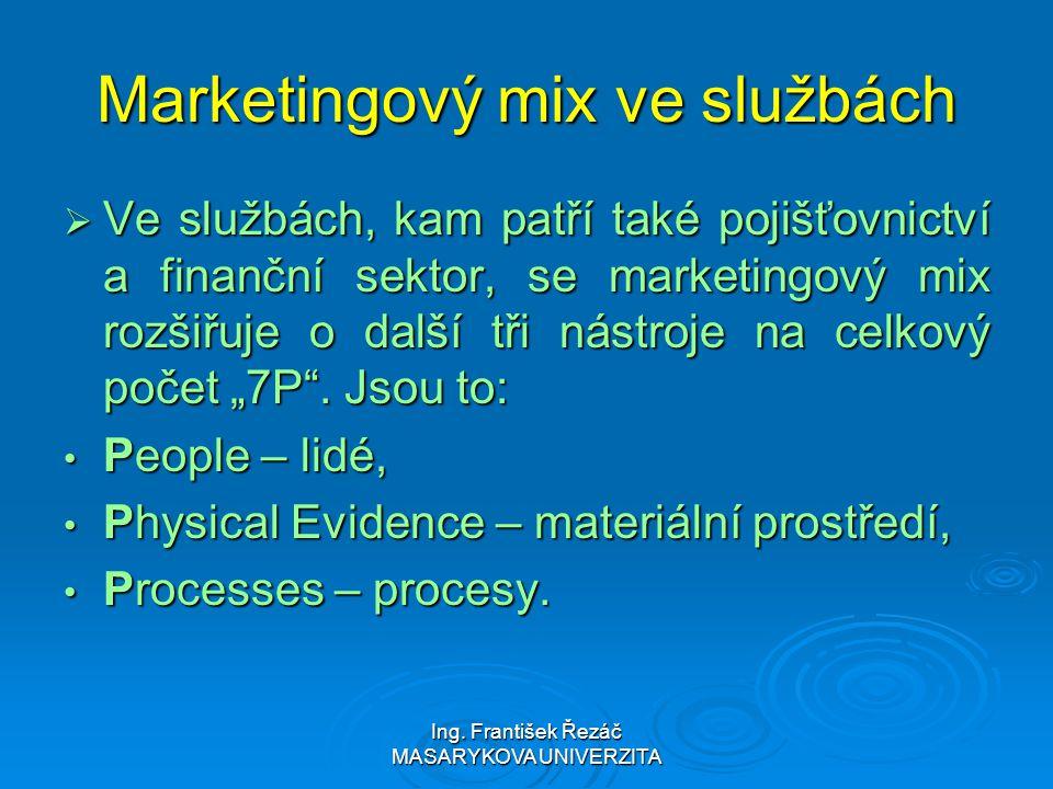 Ing. František Řezáč MASARYKOVA UNIVERZITA Marketingový mix ve službách  Ve službách, kam patří také pojišťovnictví a finanční sektor, se marketingov