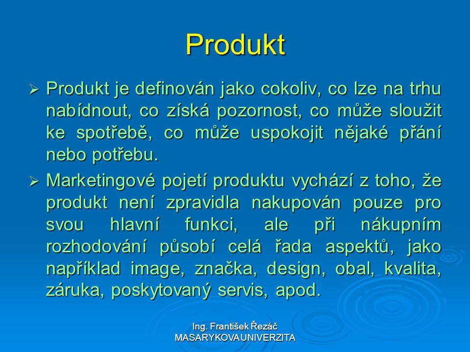Ing. František Řezáč MASARYKOVA UNIVERZITA Produkt  Produkt je definován jako cokoliv, co lze na trhu nabídnout, co získá pozornost, co může sloužit