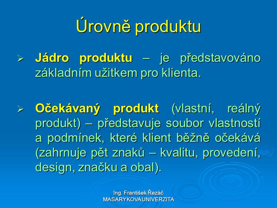 Ing. František Řezáč MASARYKOVA UNIVERZITA Úrovně produktu  Jádro produktu – je představováno základním užitkem pro klienta.  Očekávaný produkt (vla