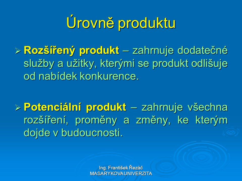 Ing. František Řezáč MASARYKOVA UNIVERZITA Úrovně produktu  Rozšířený produkt – zahrnuje dodatečné služby a užitky, kterými se produkt odlišuje od na