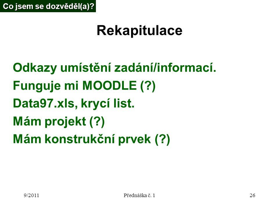 9/2011Přednáška č. 126 Rekapitulace Odkazy umístění zadání/informací.