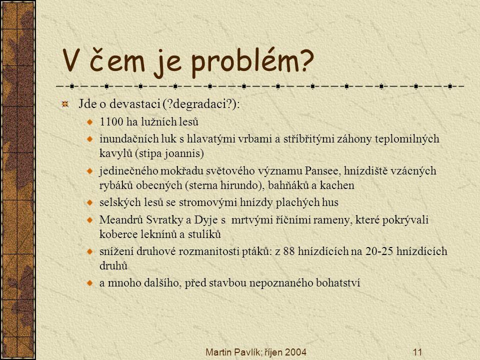 Martin Pavlík; říjen 200411 V čem je problém? Jde o devastaci (?degradaci?): 1100 ha lužních lesů inundačních luk s hlavatými vrbami a stříbřitými záh