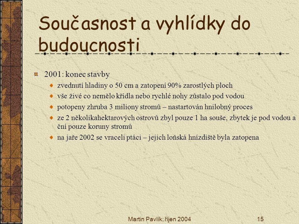 Martin Pavlík; říjen 200415 Současnost a vyhlídky do budoucnosti 2001: konec stavby zvednutí hladiny o 50 cm a zatopení 90% zarostlých ploch vše živé