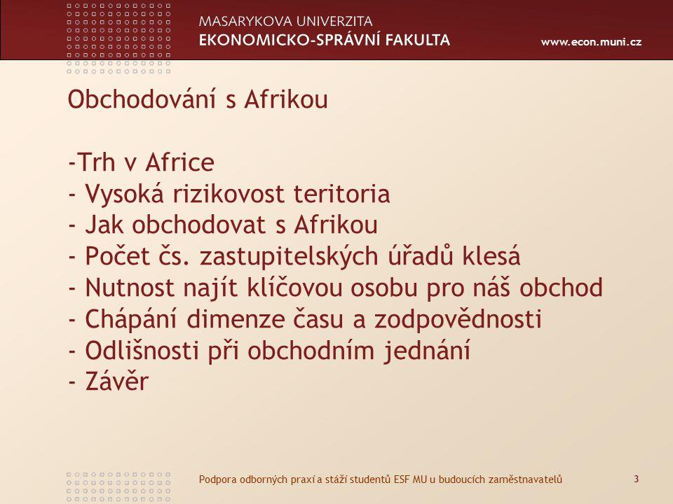 www.econ.muni.cz Obchodování s Afrikou -Trh v Africe - Vysoká rizikovost teritoria - Jak obchodovat s Afrikou - Počet čs.