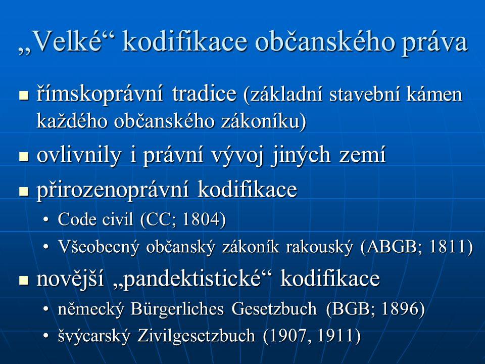 """""""Velké"""" kodifikace občanského práva římskoprávní tradice (základní stavební kámen každého občanského zákoníku) římskoprávní tradice (základní stavební"""