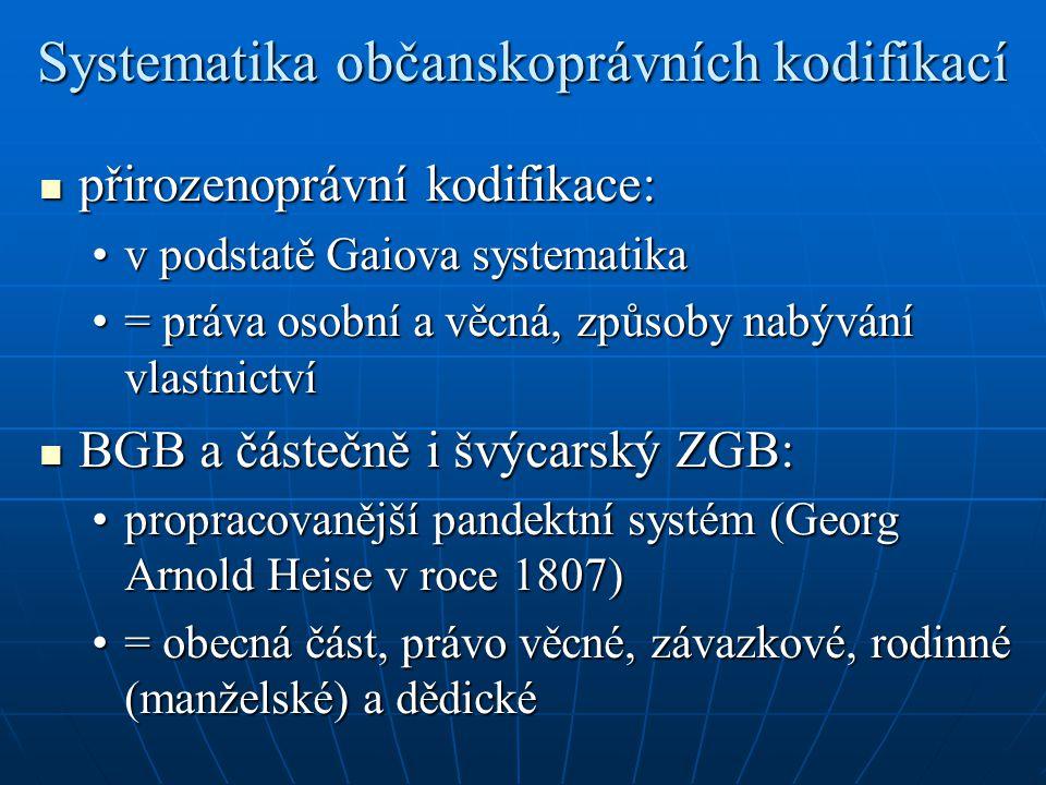 Systematika občanskoprávních kodifikací přirozenoprávní kodifikace: přirozenoprávní kodifikace: v podstatě Gaiova systematikav podstatě Gaiova systema