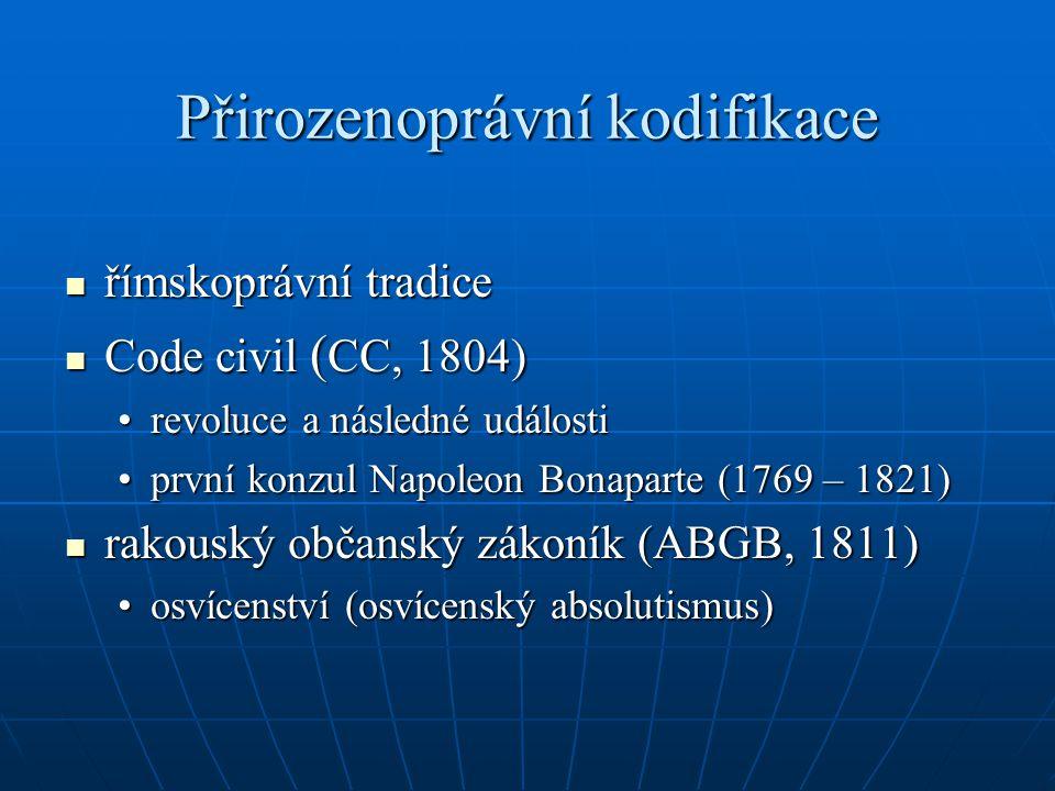 Přirozenoprávní kodifikace římskoprávní tradice římskoprávní tradice Code civil ( CC, 1804) Code civil ( CC, 1804) revoluce a následné událostirevoluc