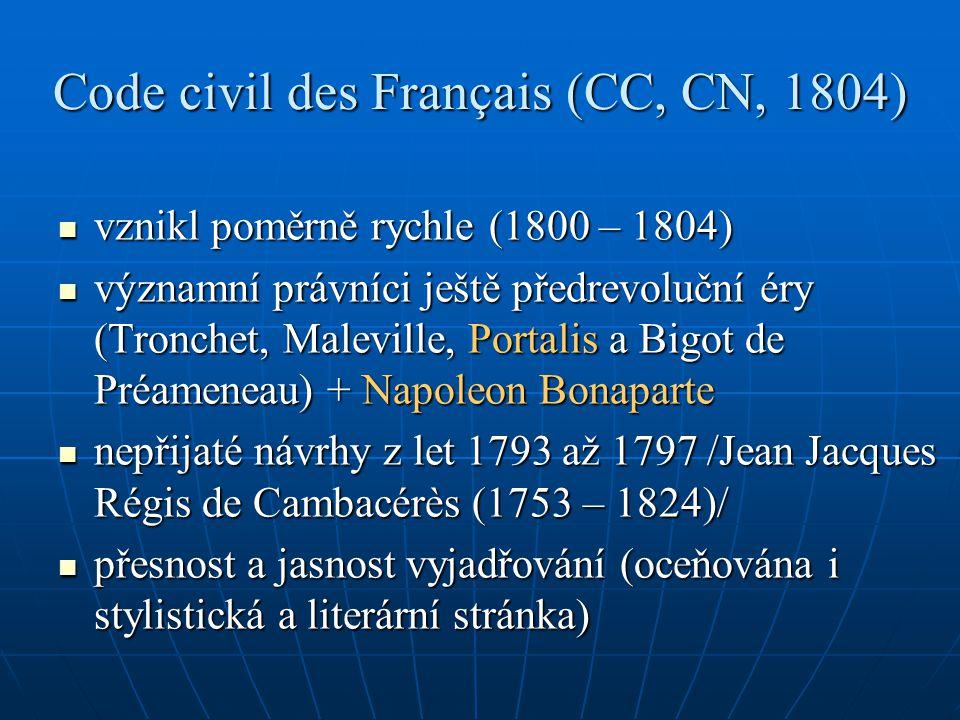 Code civil des Français (CC, CN, 1804) vznikl poměrně rychle (1800 – 1804) vznikl poměrně rychle (1800 – 1804) významní právníci ještě předrevoluční é