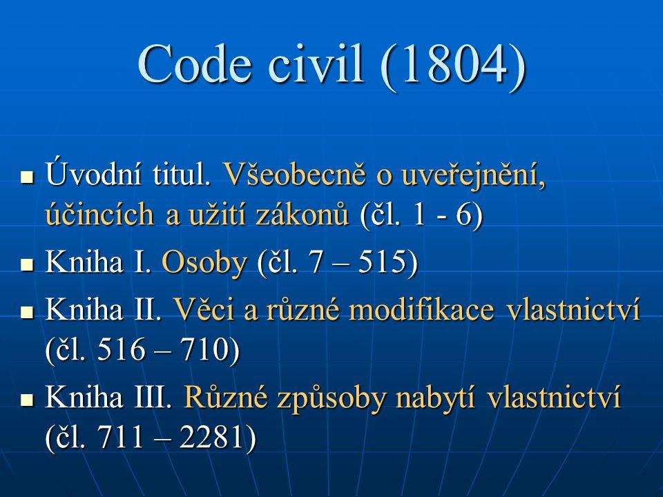 Code civil (1804) Úvodní titul. Všeobecně o uveřejnění, účincích a užití zákonů (čl. 1 - 6) Úvodní titul. Všeobecně o uveřejnění, účincích a užití zák