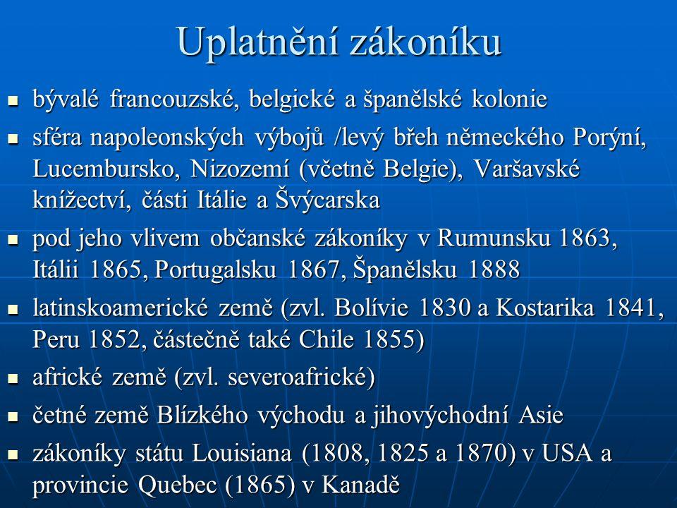 Uplatnění zákoníku bývalé francouzské, belgické a španělské kolonie bývalé francouzské, belgické a španělské kolonie sféra napoleonských výbojů /levý