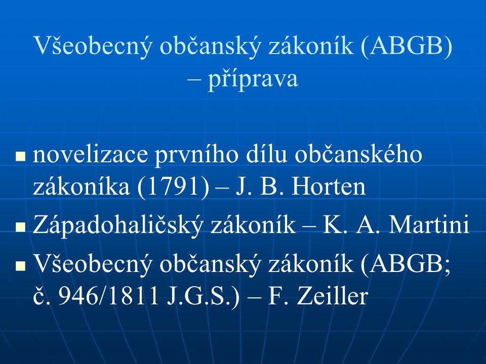 Všeobecný občanský zákoník (ABGB) – příprava novelizace prvního dílu občanského zákoníka (1791) – J. B. Horten Západohaličský zákoník – K. A. Martini