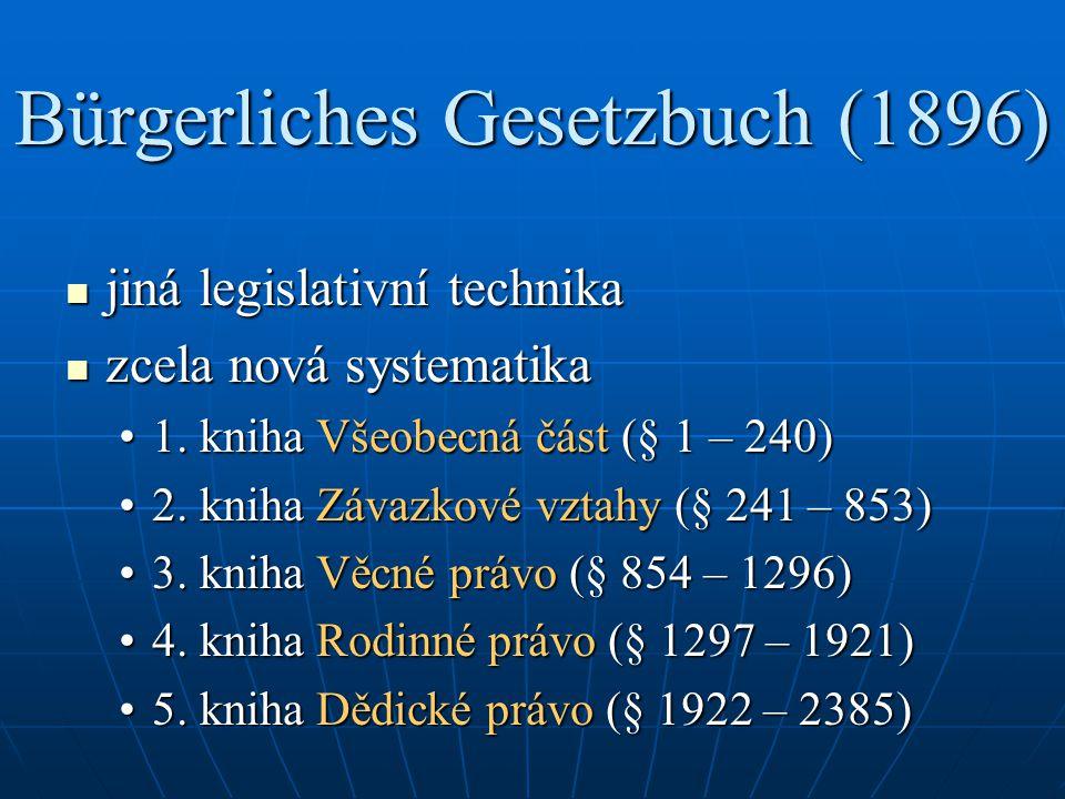 Bürgerliches Gesetzbuch (1896) jiná legislativní technika jiná legislativní technika zcela nová systematika zcela nová systematika 1. kniha Všeobecná
