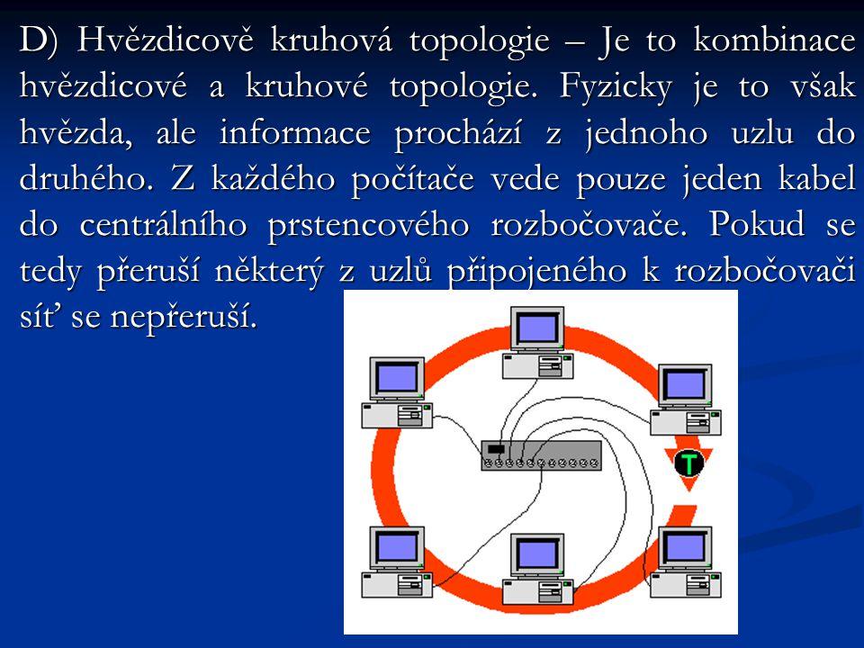 D) Hvězdicově kruhová topologie – Je to kombinace hvězdicové a kruhové topologie.