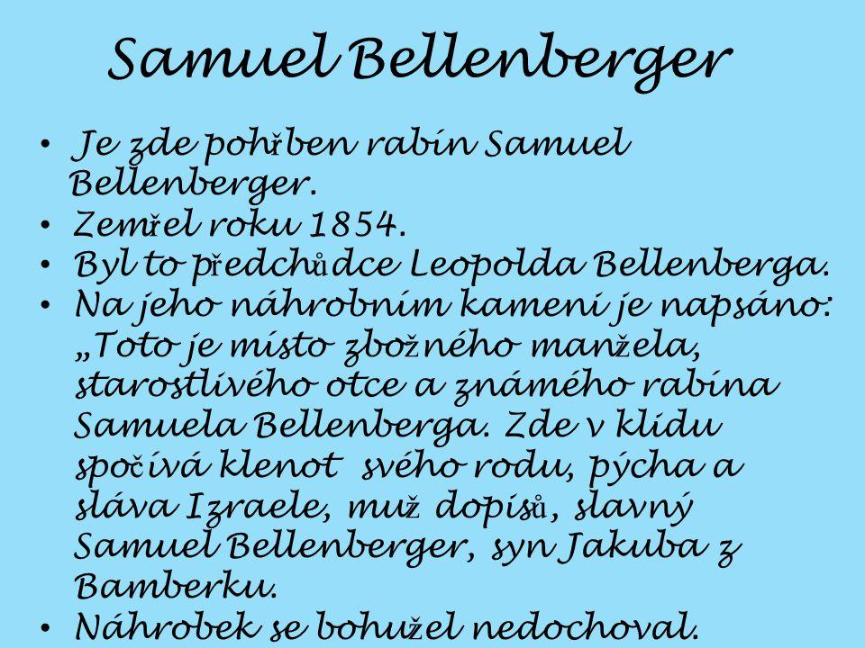 Je zde poh ř ben rabín Samuel Bellenberger.Zem ř el roku 1854.