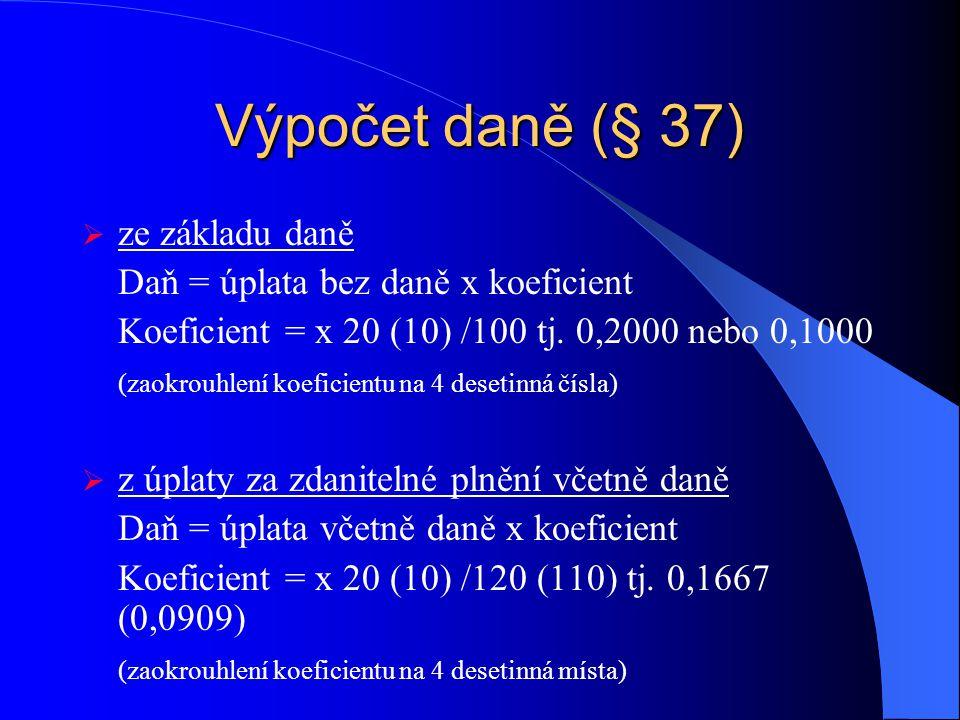 Sazba DPH (§ 47 - § 50) Základní – 20 %  zboží a služby  převod nemovitosti Snížená – 10 %  zboží v příloze č.