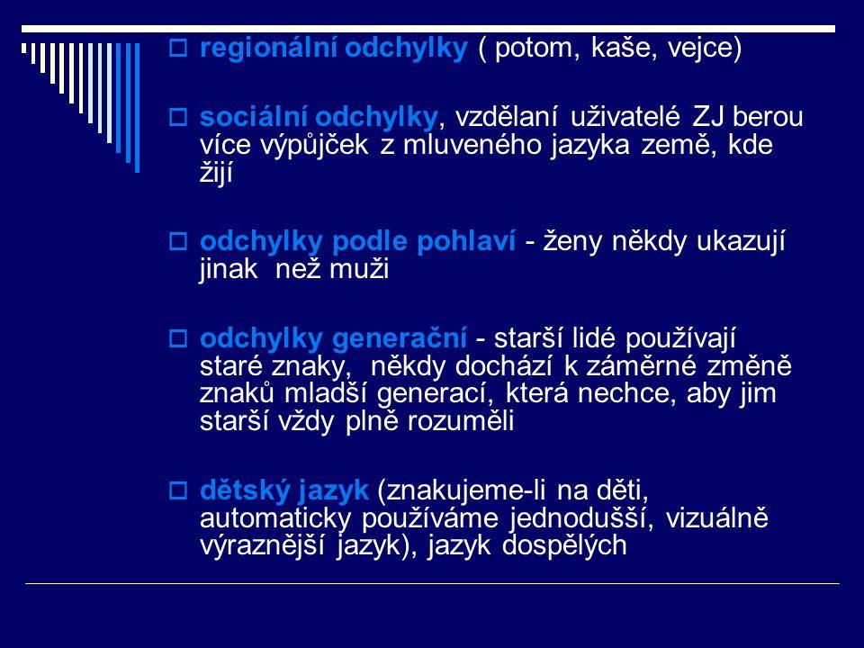  regionální odchylky ( potom, kaše, vejce)  sociální odchylky, vzdělaní uživatelé ZJ berou více výpůjček z mluveného jazyka země, kde žijí  odchylk