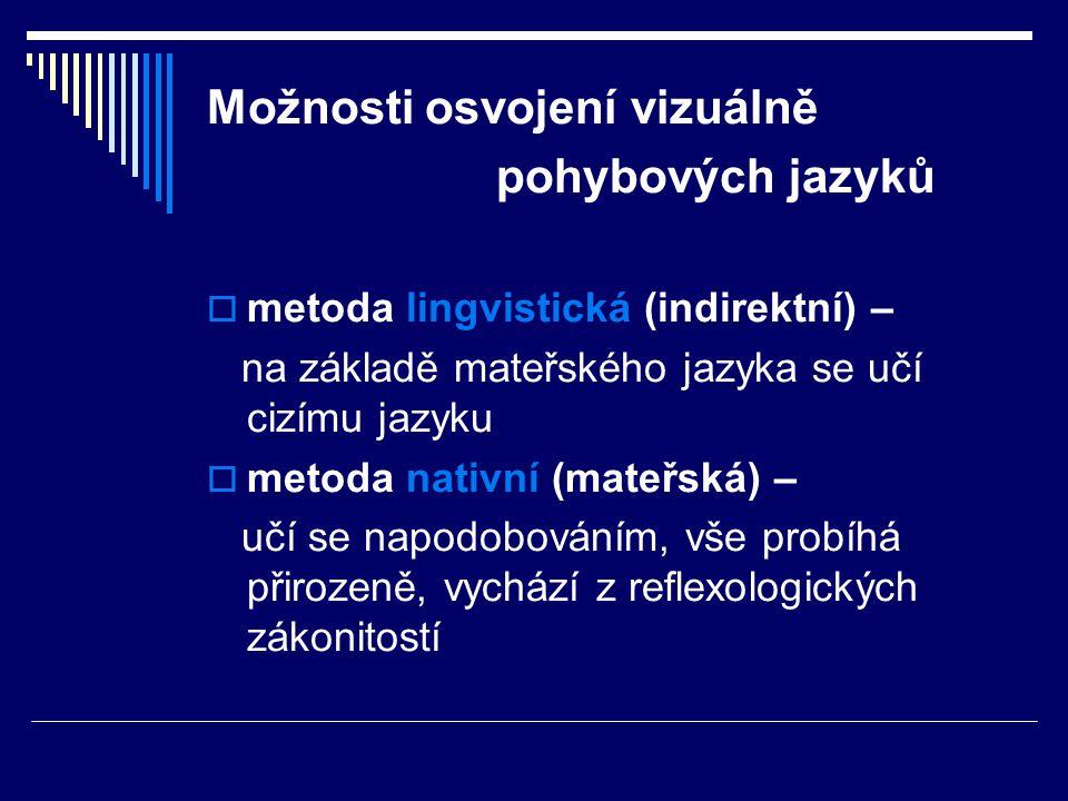 Možnosti osvojení vizuálně pohybových jazyků  metoda lingvistická (indirektní) – na základě mateřského jazyka se učí cizímu jazyku  metoda nativní (