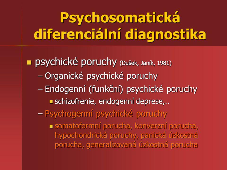 Psychosomatická diferenciální diagnostika psychické poruchy (Dušek, Janík, 1981) psychické poruchy (Dušek, Janík, 1981) –Organické psychické poruchy –