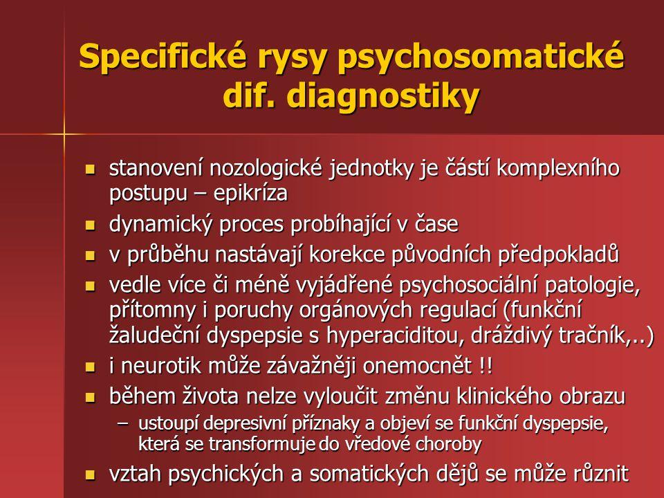 Specifické rysy psychosomatické dif. diagnostiky stanovení nozologické jednotky je částí komplexního postupu – epikríza stanovení nozologické jednotky