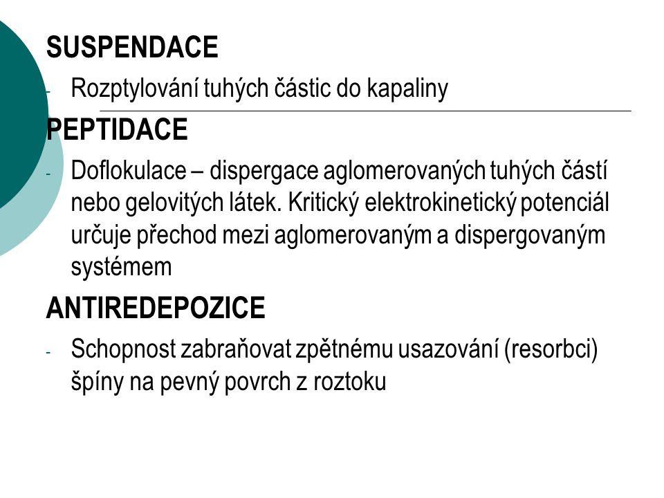 SUSPENDACE - Rozptylování tuhých částic do kapaliny PEPTIDACE - Doflokulace – dispergace aglomerovaných tuhých částí nebo gelovitých látek.