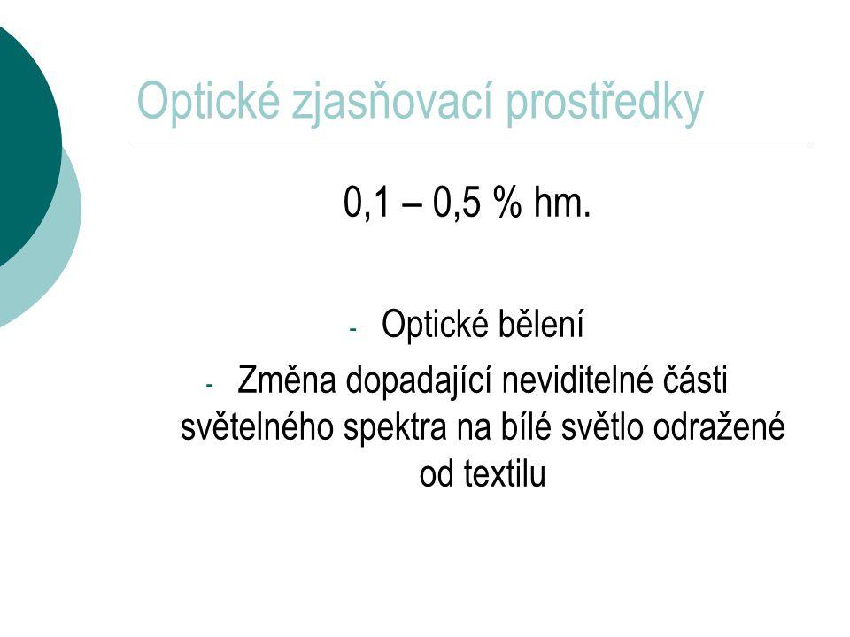 Optické zjasňovací prostředky 0,1 – 0,5 % hm.