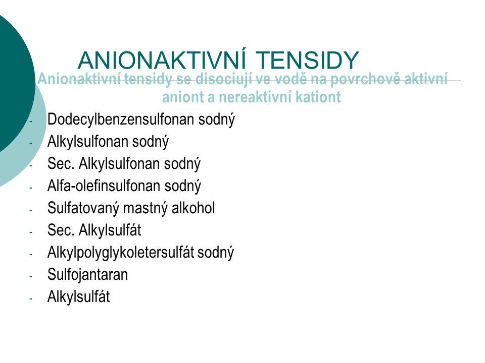 ANIONAKTIVNÍ TENSIDY Anionaktivní tensidy se disociují ve vodě na povrchově aktivní aniont a nereaktivní kationt - Dodecylbenzensulfonan sodný - Alkylsulfonan sodný - Sec.