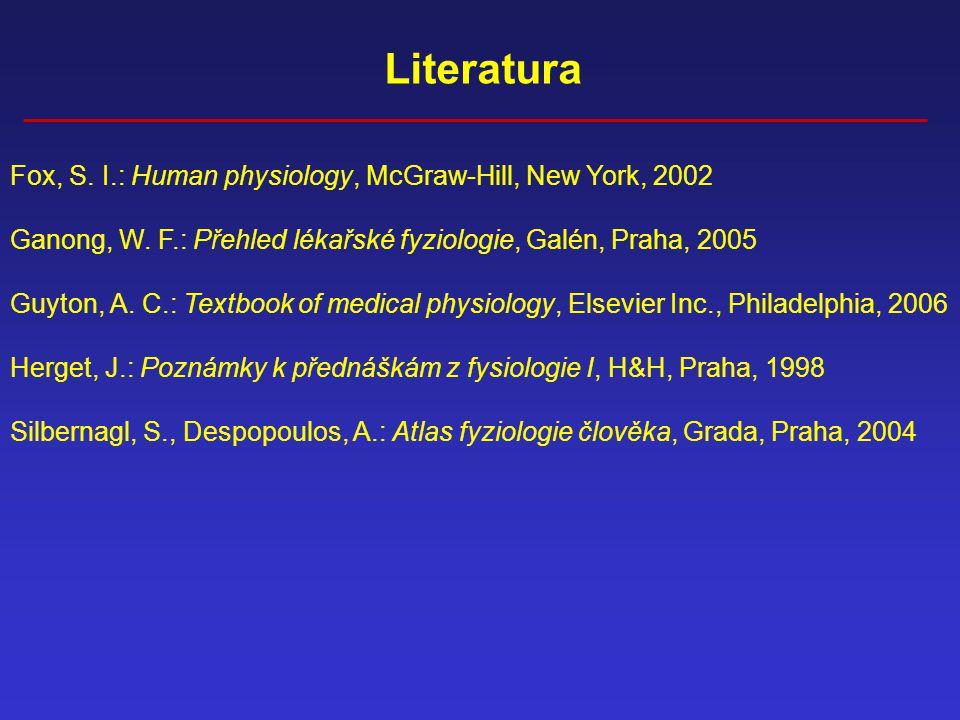 Literatura Fox, S. I.: Human physiology, McGraw-Hill, New York, 2002 Ganong, W. F.: Přehled lékařské fyziologie, Galén, Praha, 2005 Guyton, A. C.: Tex