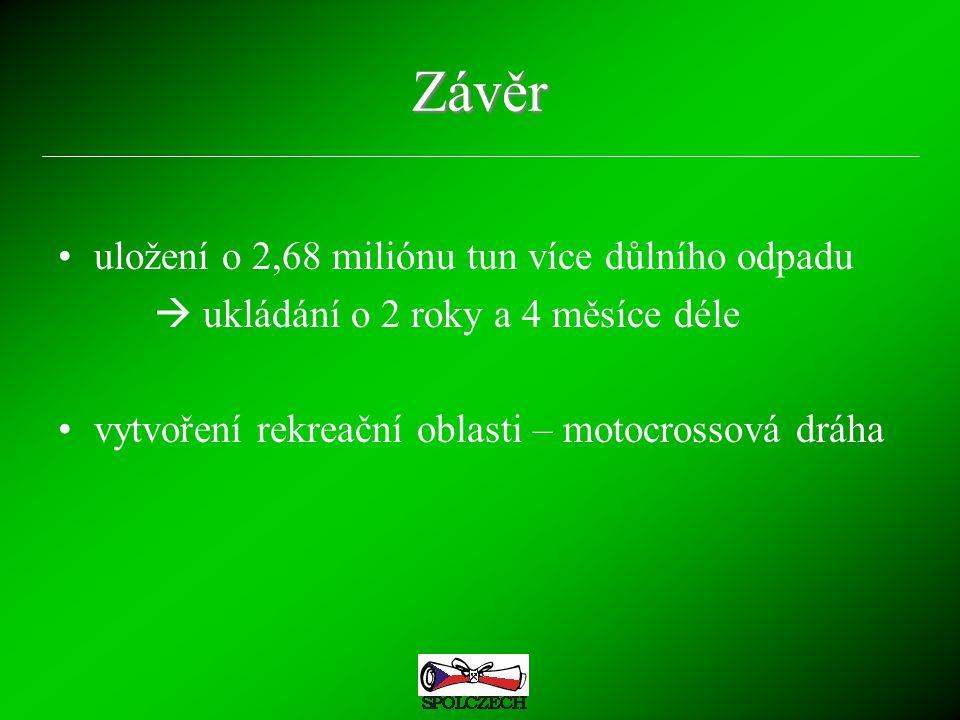 Závěr uložení o 2,68 miliónu tun více důlního odpadu  ukládání o 2 roky a 4 měsíce déle vytvoření rekreační oblasti – motocrossová dráha