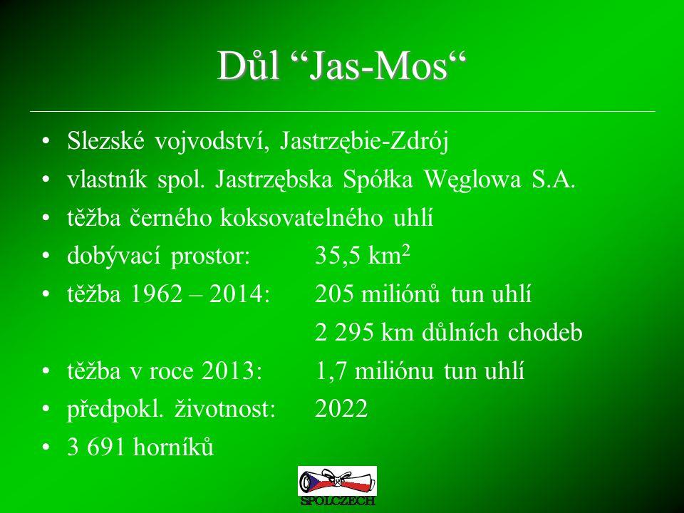 """Důl """"Jas-Mos"""" Slezské vojvodství, Jastrzębie-Zdrój vlastník spol. Jastrzębska Spółka Węglowa S.A. těžba černého koksovatelného uhlí dobývací prostor:3"""
