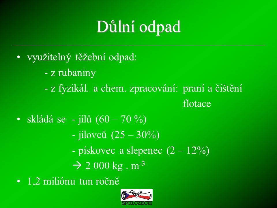 Důlní odpad využitelný těžební odpad: - z rubaniny - z fyzikál. a chem. zpracování:praní a čištění flotace skládá se- jílů (60 – 70 %) - jílovců (25 –