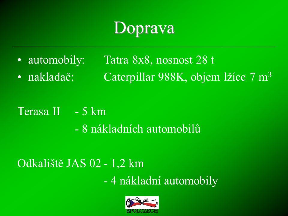 Doprava automobily:Tatra 8x8, nosnost 28 t nakladač:Caterpillar 988K, objem lžíce 7 m 3 Terasa II- 5 km - 8 nákladních automobilů Odkaliště JAS 02- 1,2 km - 4 nákladní automobily