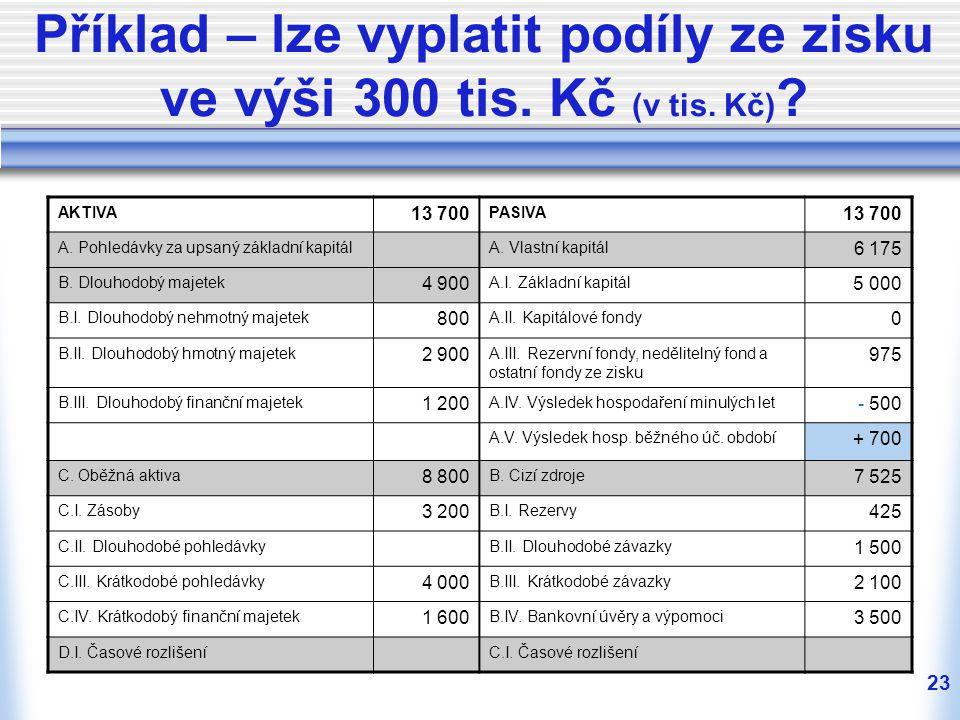 23 Příklad – lze vyplatit podíly ze zisku ve výši 300 tis. Kč (v tis. Kč) ? AKTIVA 13 700 PASIVA 13 700 A. Pohledávky za upsaný základní kapitálA. Vla