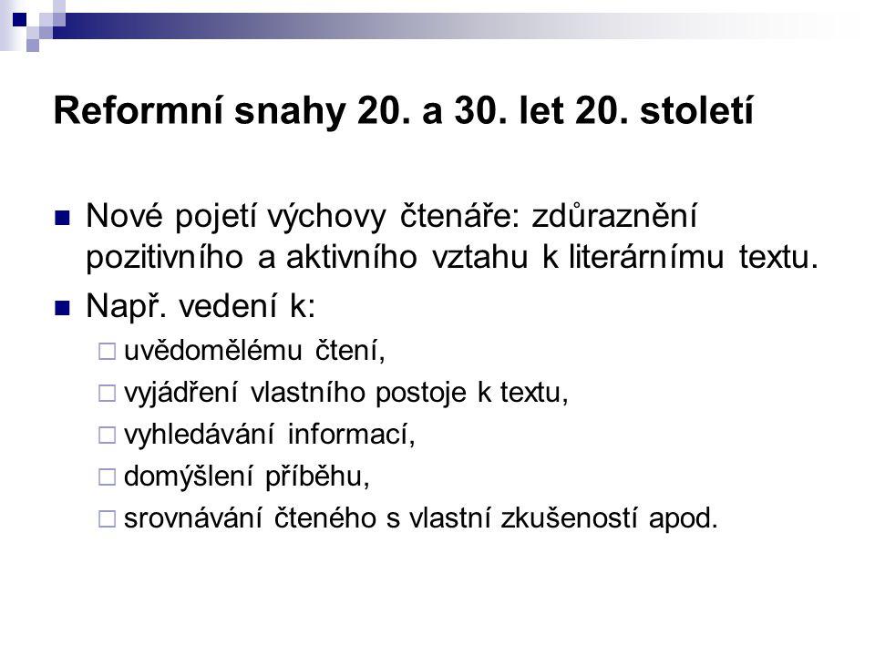 Reformní snahy 20. a 30. let 20.